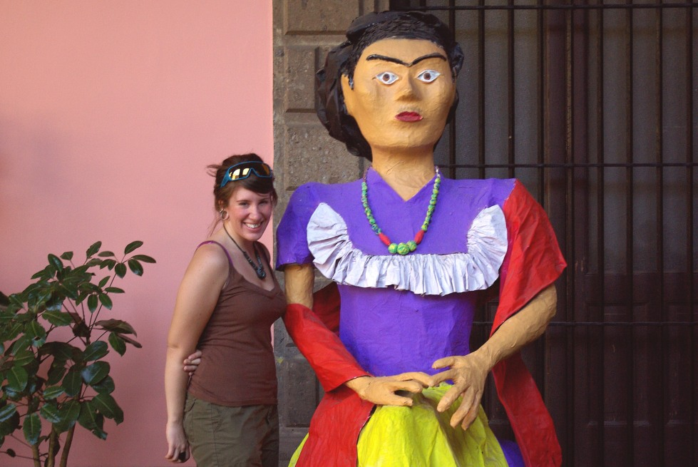 Me in Mexico City in front of a very large statue of Frida Kahlo.
